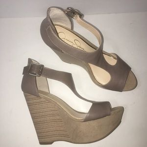 Jessica Simpson Wedge Sandals Taupe Size 8